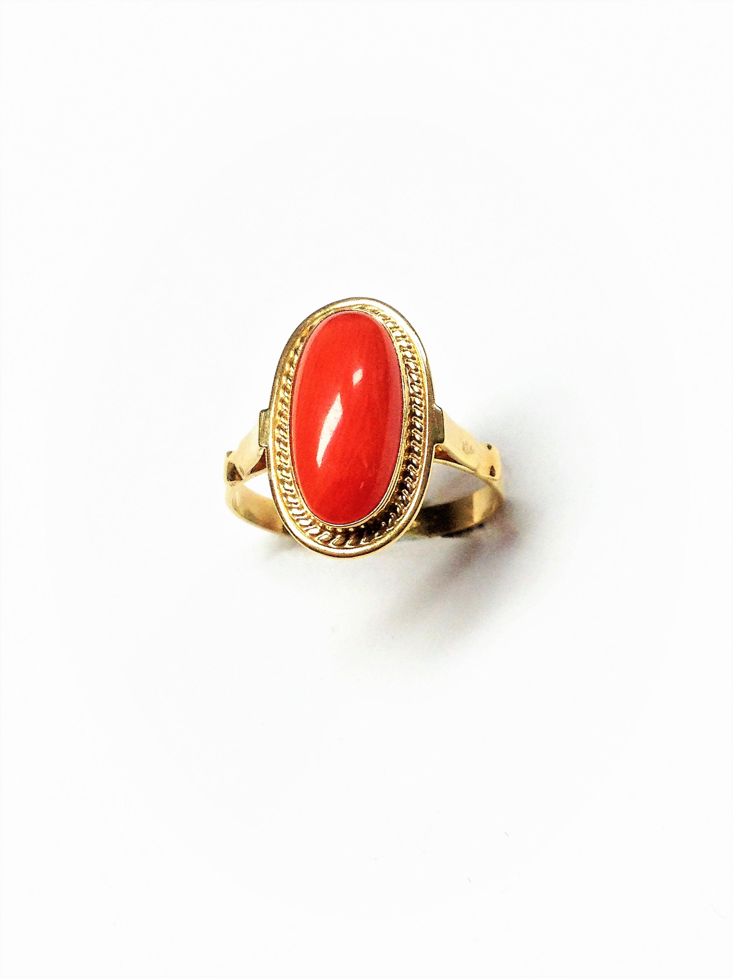 Caselli online vintage jewels: Gold coral ring jewel. Unique ...